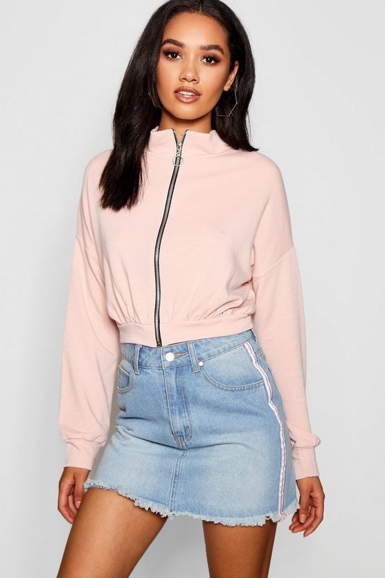 Petite Ria O Ring Zip Through Bomber Jacket