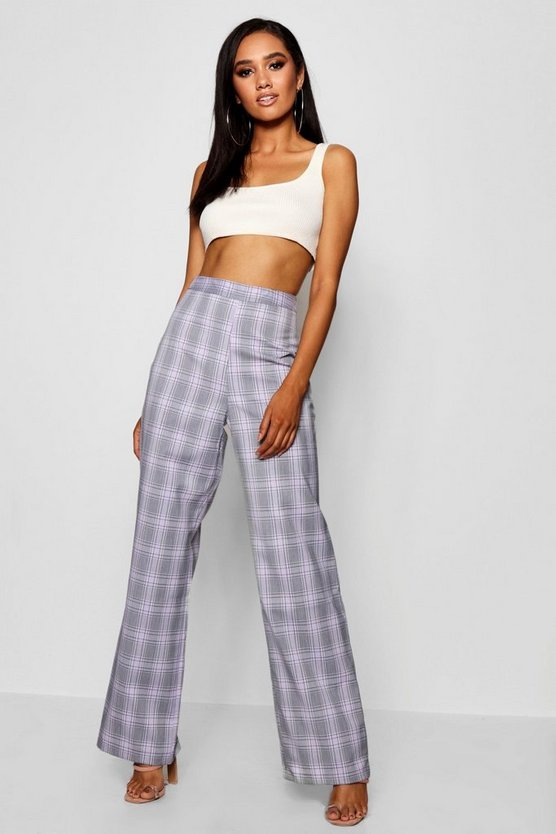 Petite Gia Wide Leg High Waist Check Trouser by Boohoo