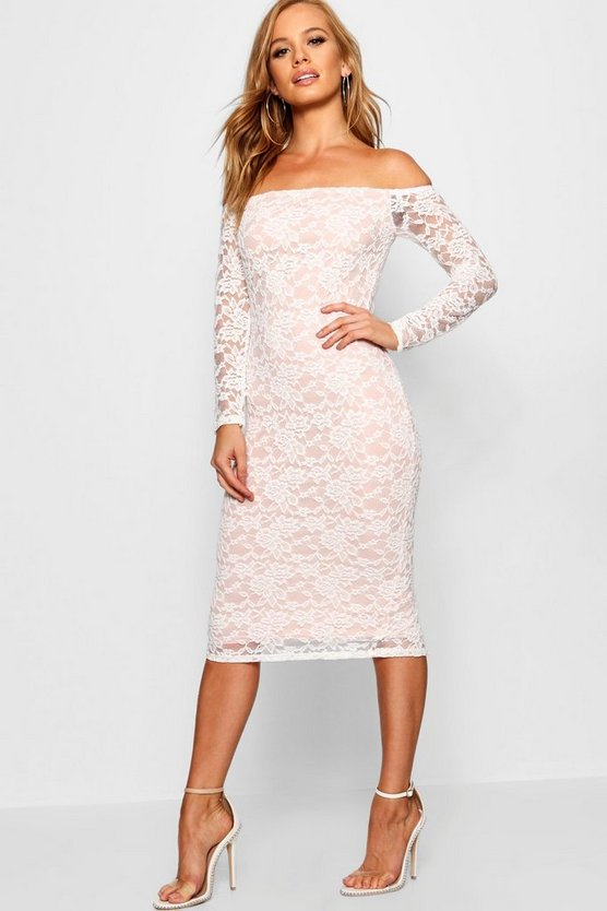 Petite White Lace Bardot Midi Dress