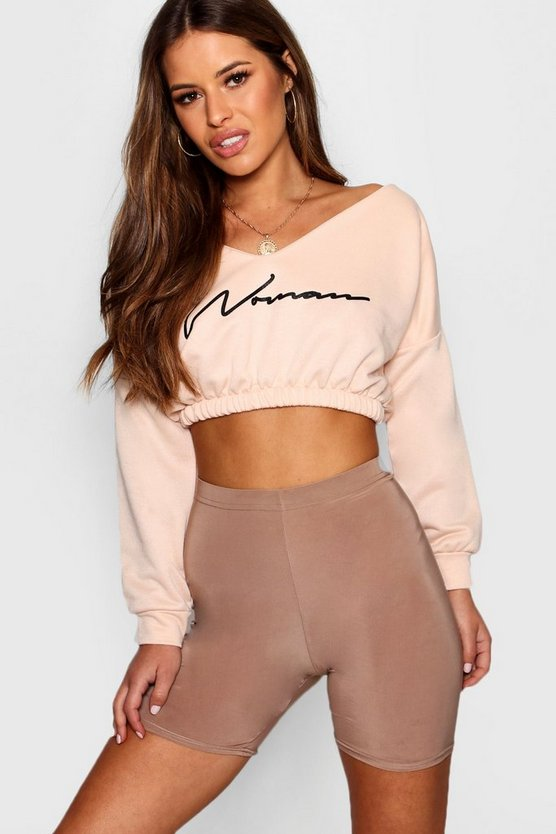 Petite Woman Slogan Ruched Sweat Top by Boohoo