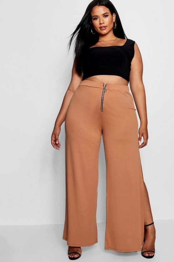 Plus Becky O Ring Zip Wide Leg Trouser