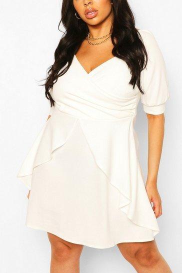 White Plus Ruffle Detail Wrap Skater Dress