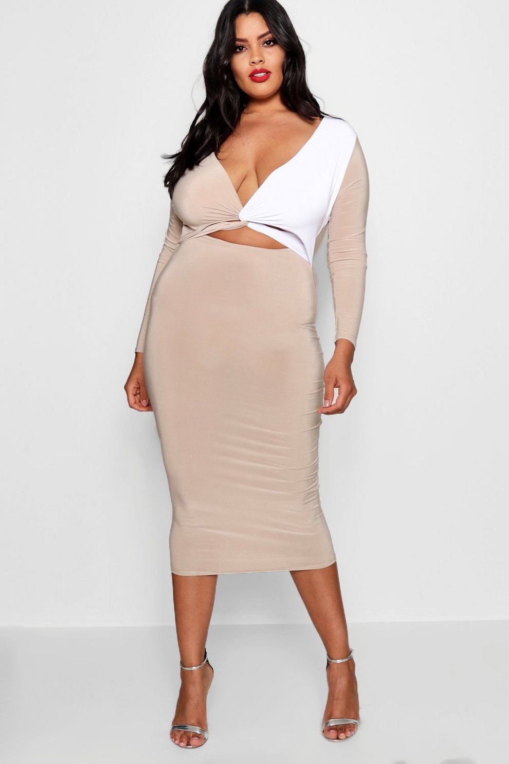 Free Shipping Visa Payment Discount Really Boohoo Plus Colour Block Twist Midi Dress Discounts Cheap Price Many Kinds Of Cheap Price Clearance Outlet Store pf5F0