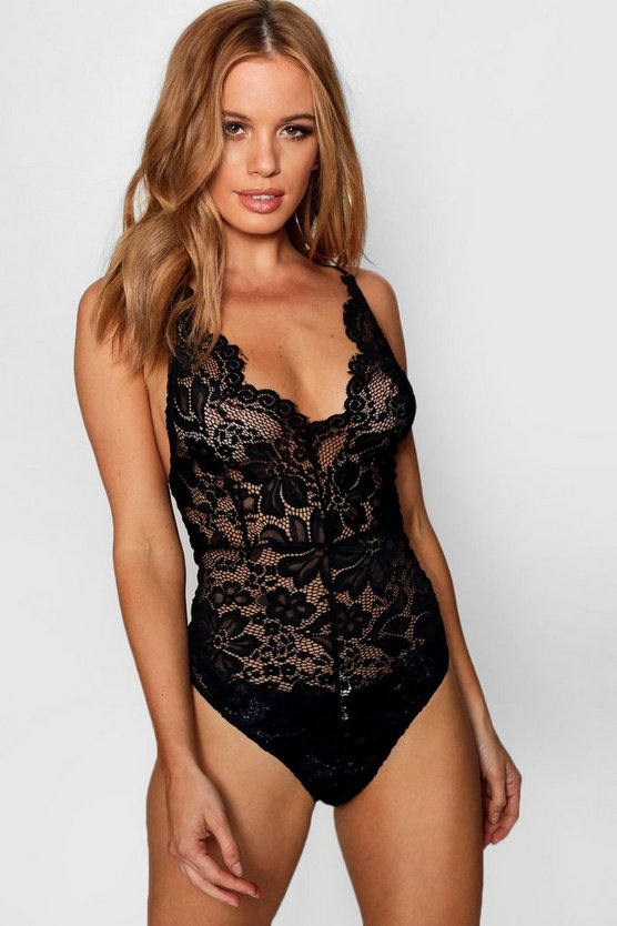 Petite Ava Cross Back Scallop Lace Bodysuit by Boohoo