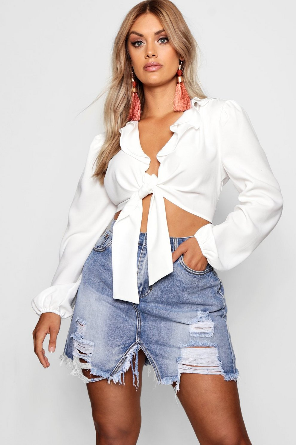 Discount High Quality Boohoo Plus Extreme Ripped Wash Denim Skirt Buy Cheap Visit Wiki For Sale wbavwTMjM