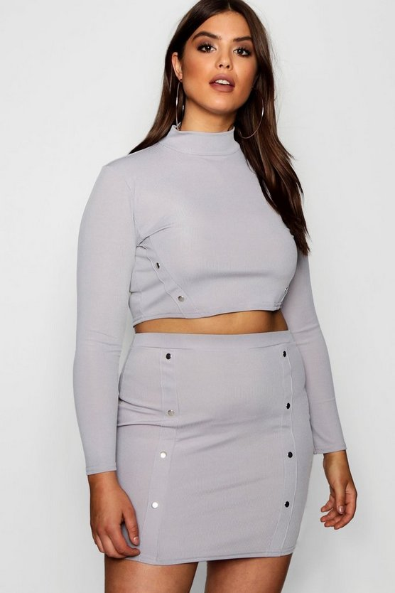 Plus Popper Detail Skirt Co-ord