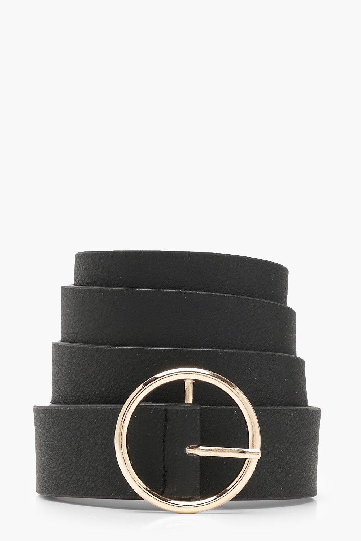 Купить Accessories, Ремень в стиле бойфренд с круглой позолоченной пряжкой большого размера, boohoo