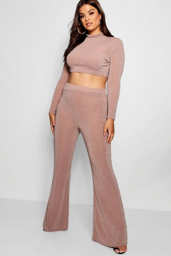 Plus Shimmer Crop + Wide Leg Co-ord