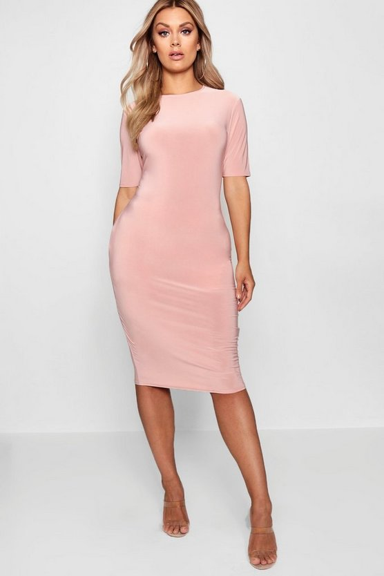 Plus Slinky Short Sleeve Midi Bodycon Dress