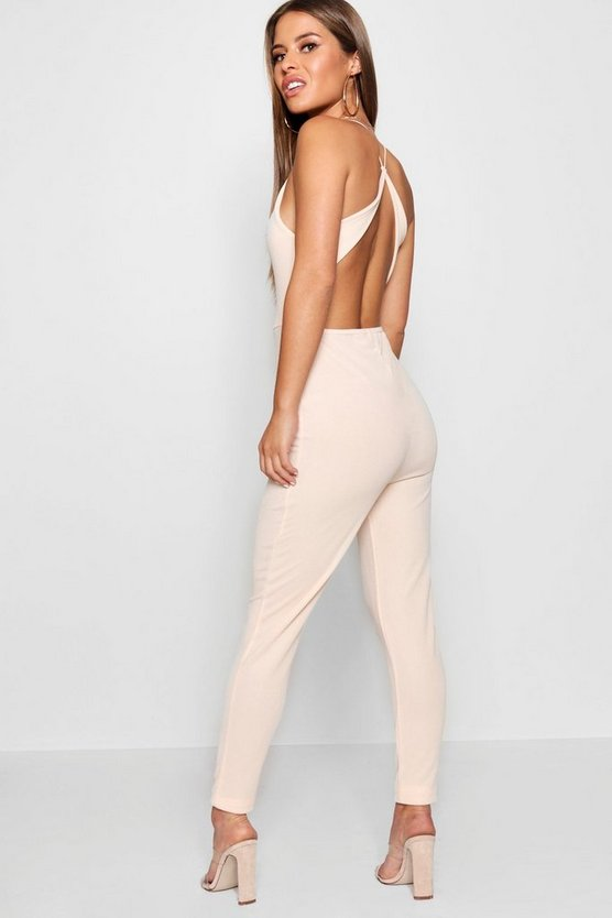 Petite High Neck Cross Back Detail Jumpsuit