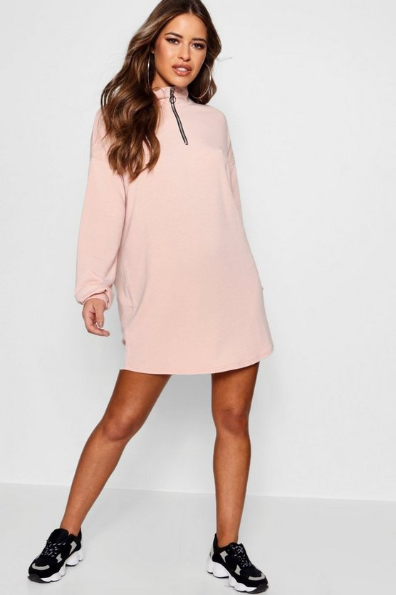 Petite Paige Zip Front Sweat Dress by Boohoo