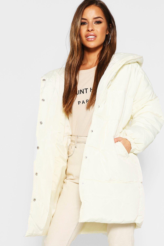 Купить Coats & Jackets, Petite Hooded Dip Back Padded Coat, boohoo