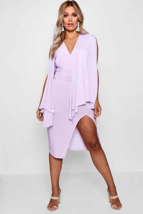 Plus Hannah Extreme Cape Sleeve Wrap Midi Dress