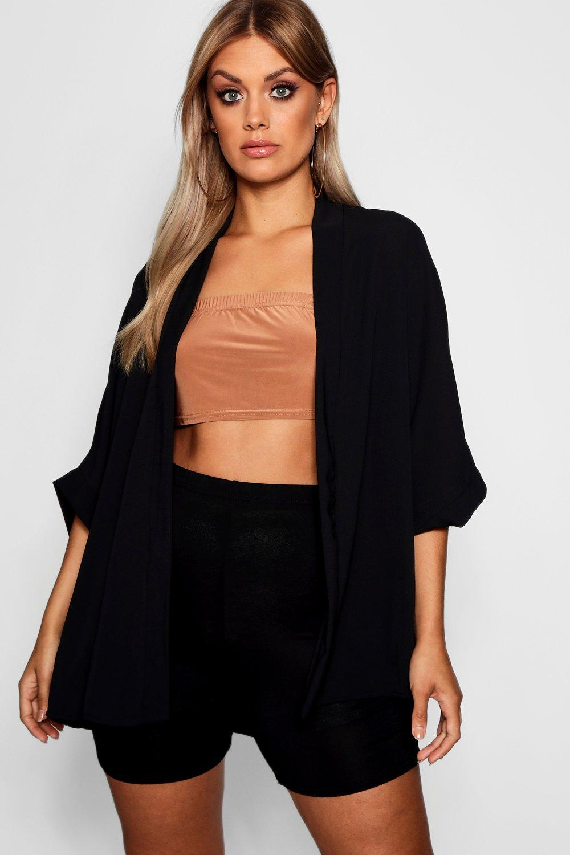 Womens Plus - Gewebter Kimono - schwarz - 50, Schwarz - Boohoo.com