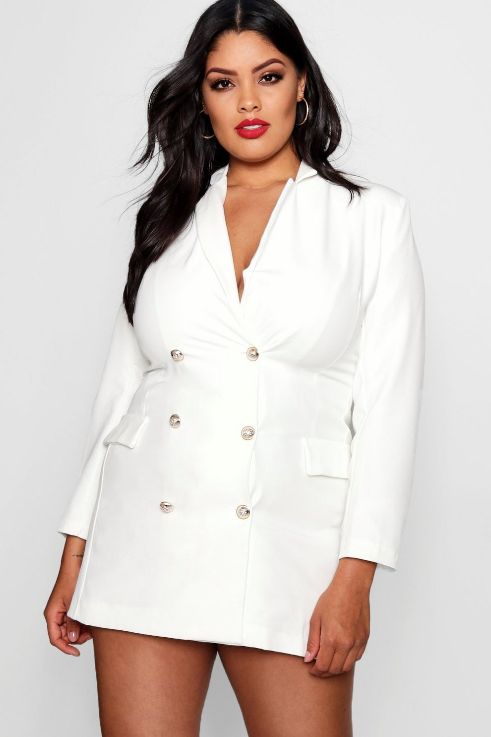 Boohoo Plus Catriona Button Blazer Dress Free Shipping Pay With Visa Eastbay For Sale XMBFRWjI