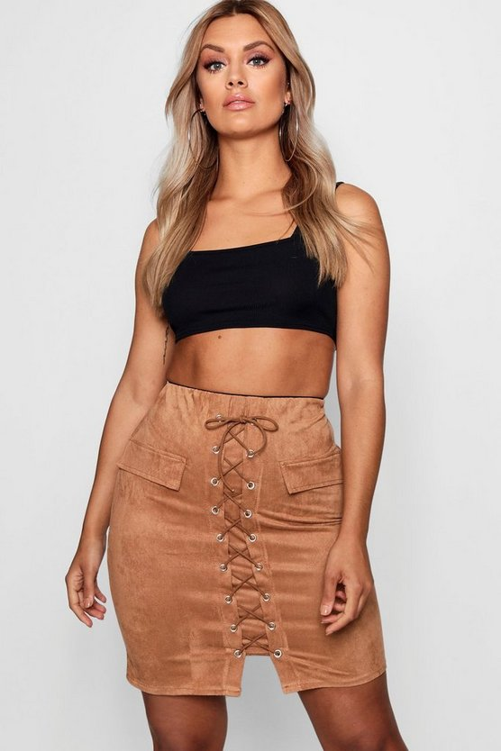Plus Jess Lace Up Mini Skirt