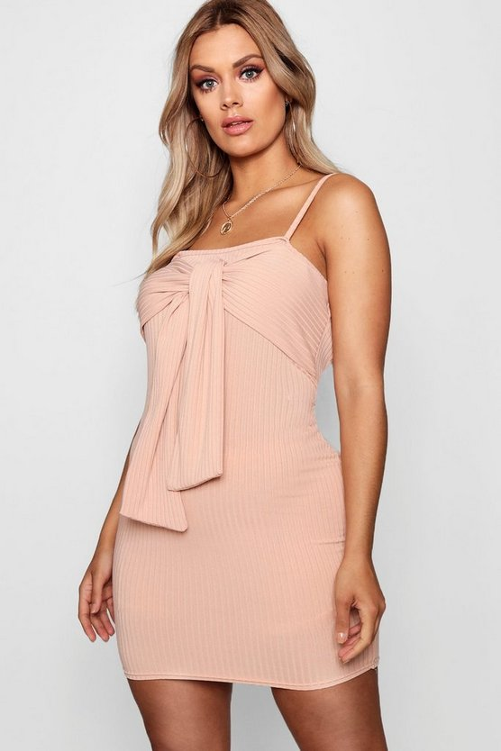Plus Tie Front Ribbed Bodycon Dress