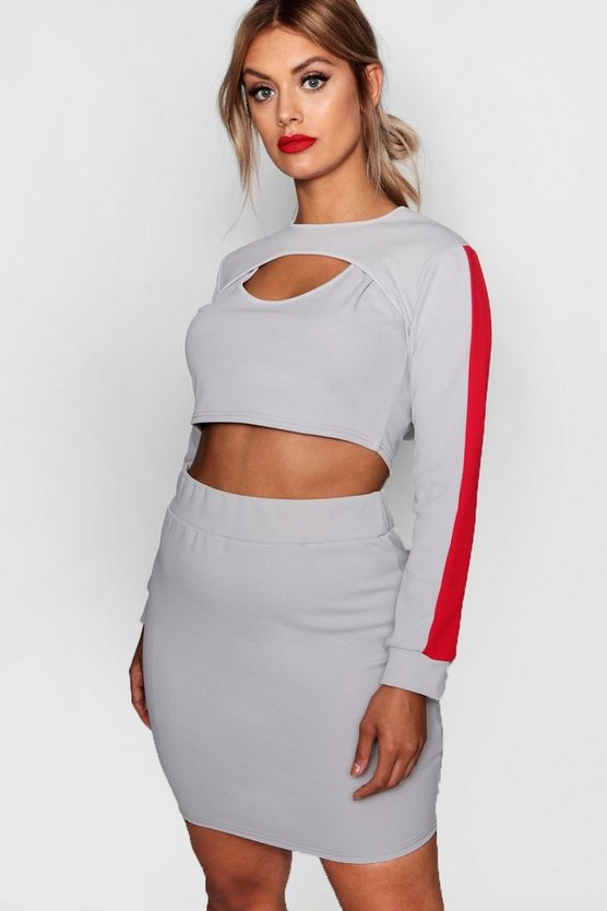 Plus Erin Sports Stripe Cut Out 3 Piece Co-ord
