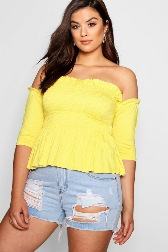 Plus Polly Sheered Frill Sleeve Bandeau Top