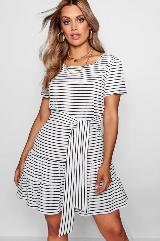 Plus Stripe Belted Tiered Smock Dress