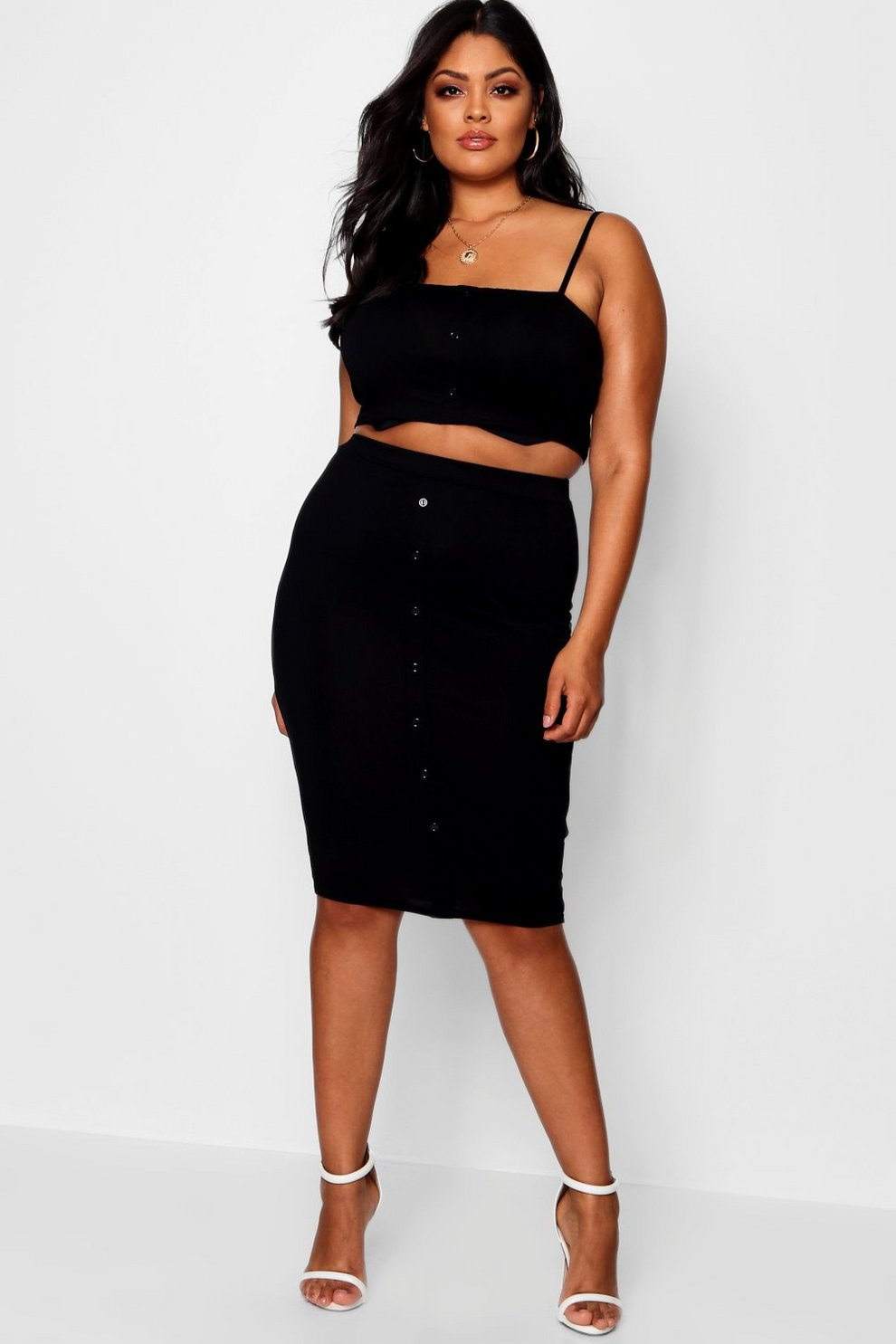 Boohoo Plus Button Rib Crop + Midi Skirt Co-ord Amazon For Sale Discount Outlet Locations Cheap Wholesale n44kuKg