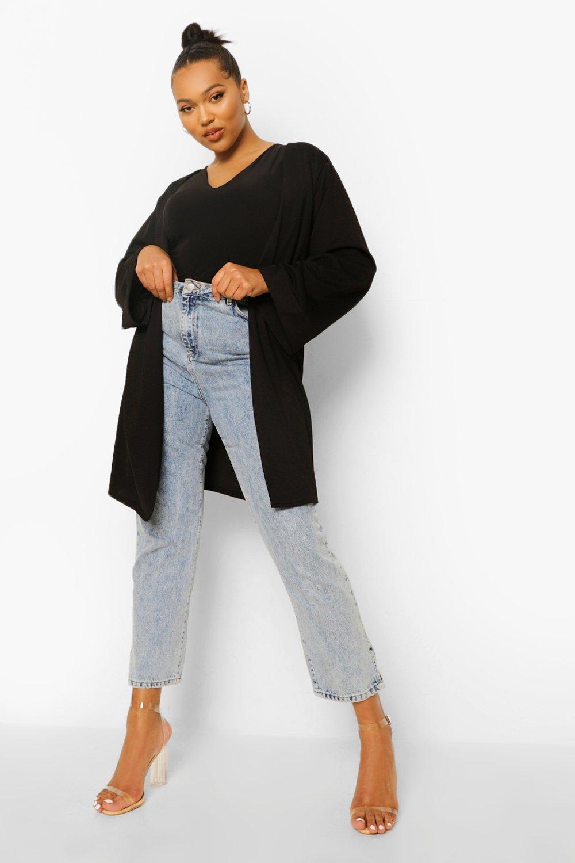 Халат с рукавами в стиле кимоно из крепа большого размера фото