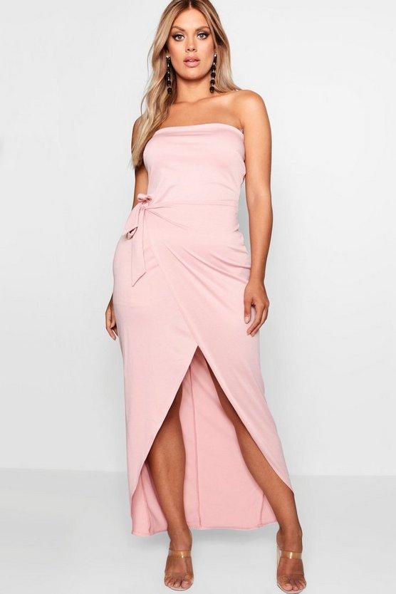 Plus Tie Side Wrap Bandeau Maxi Dress by Boohoo