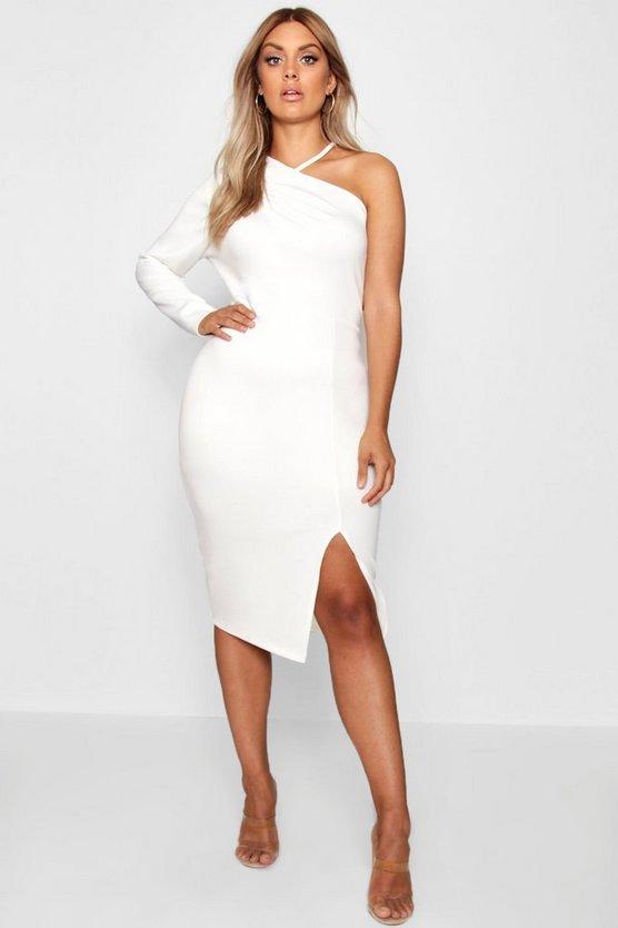 Plus Split Front Asymmetric Midi Dress by Boohoo