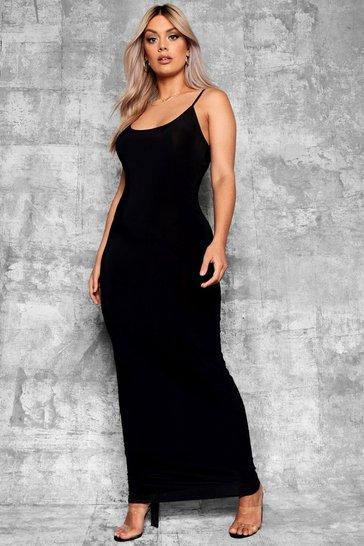 Black Plus Slinky Strappy Maxi Dress