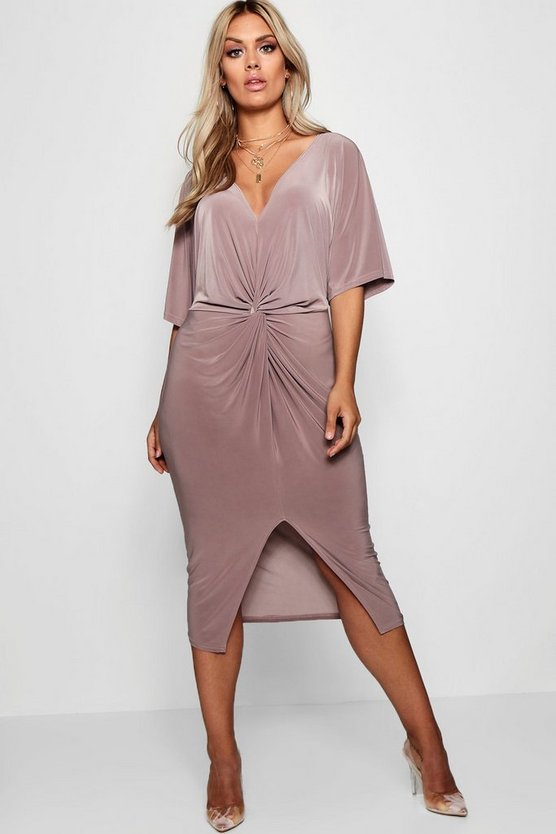 Plus Slinky Twisted Kimono Sleeve Midi Dress