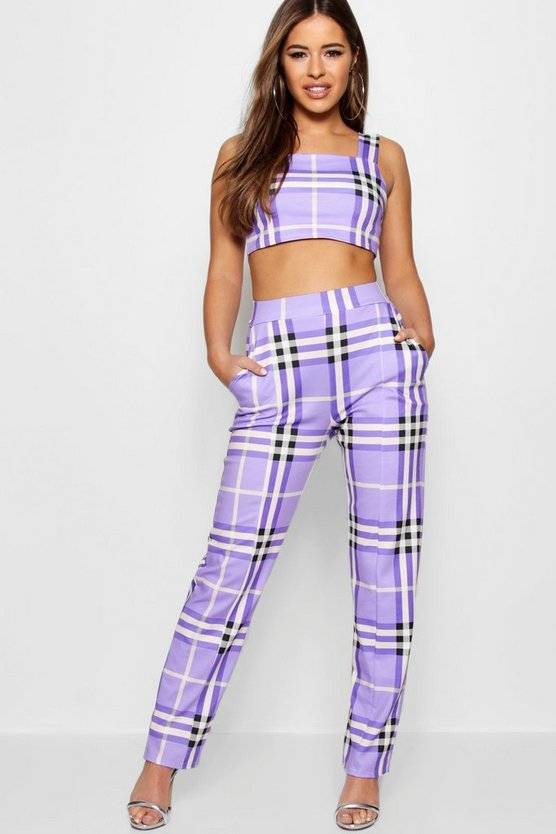 Petite Olivia Check High Waisted Trouser