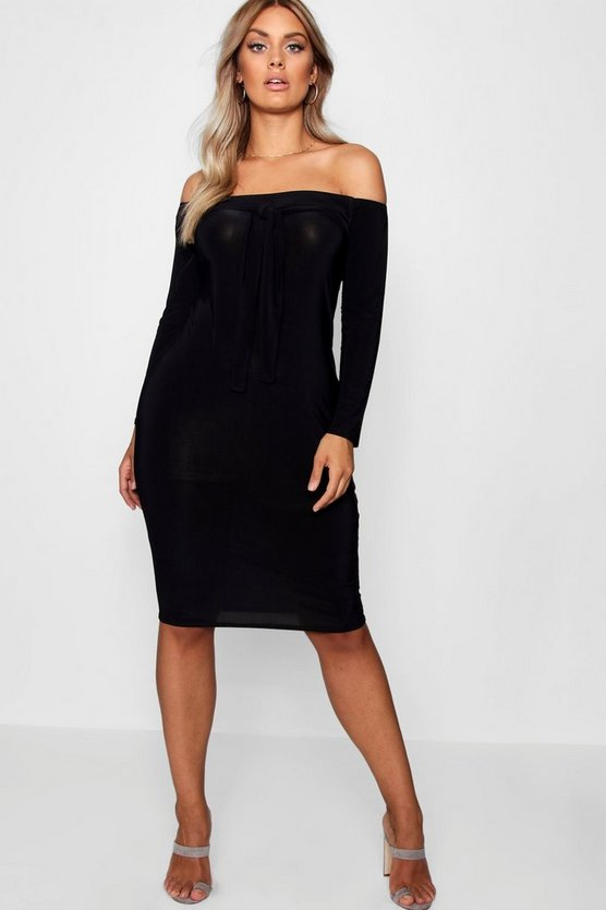Plus Tie Front Off The Shoulder Dress