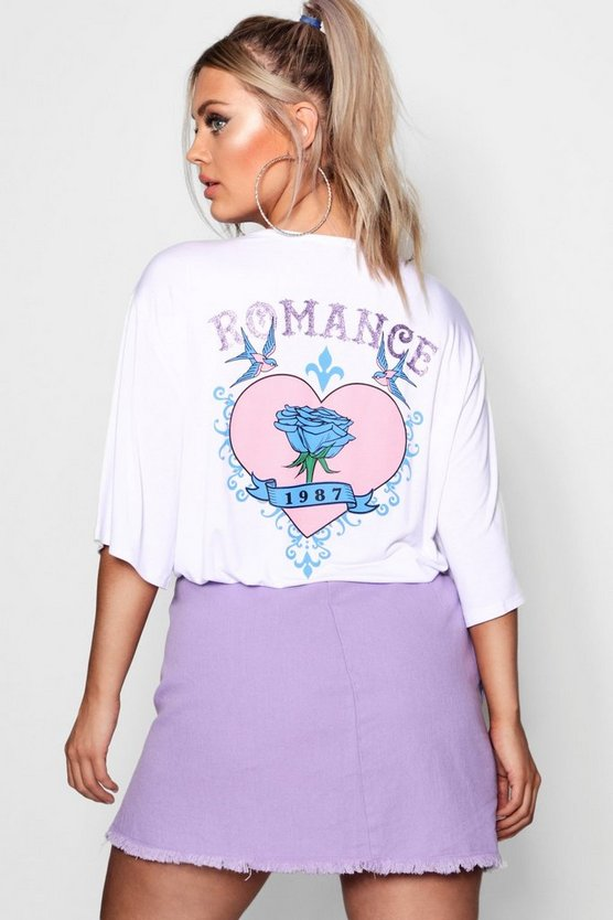 Plus Romance Tattoo Print T-Shirt