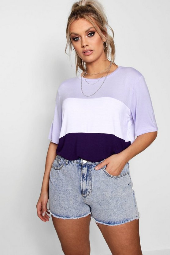Plus Isla Colour Block T Shirt