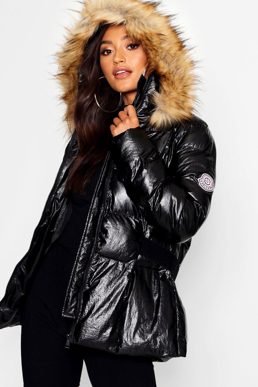 Купить Coats & Jackets, Укороченный пуховик цвета металлик с поясом маленького размера, boohoo