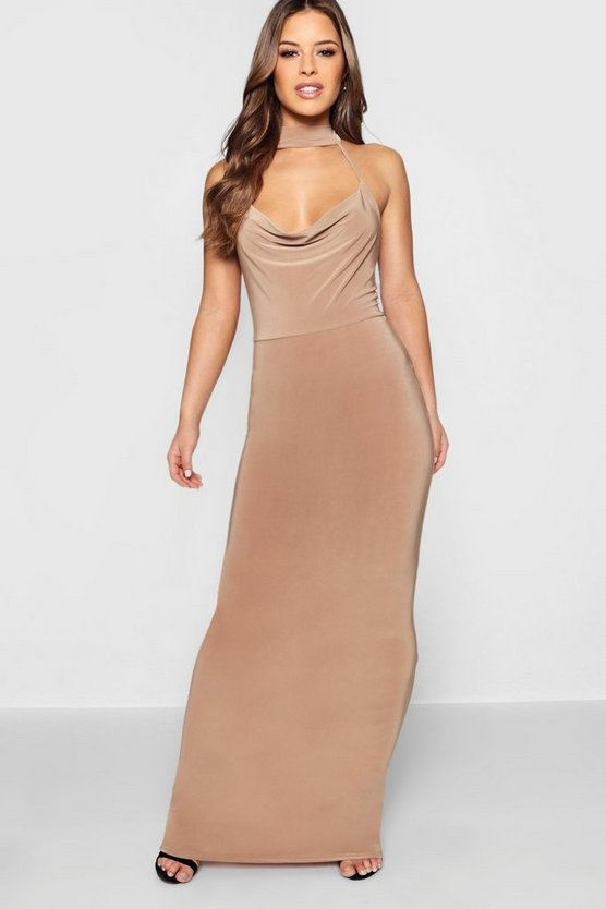 Petite Cowl Neck Collar Maxi Dress