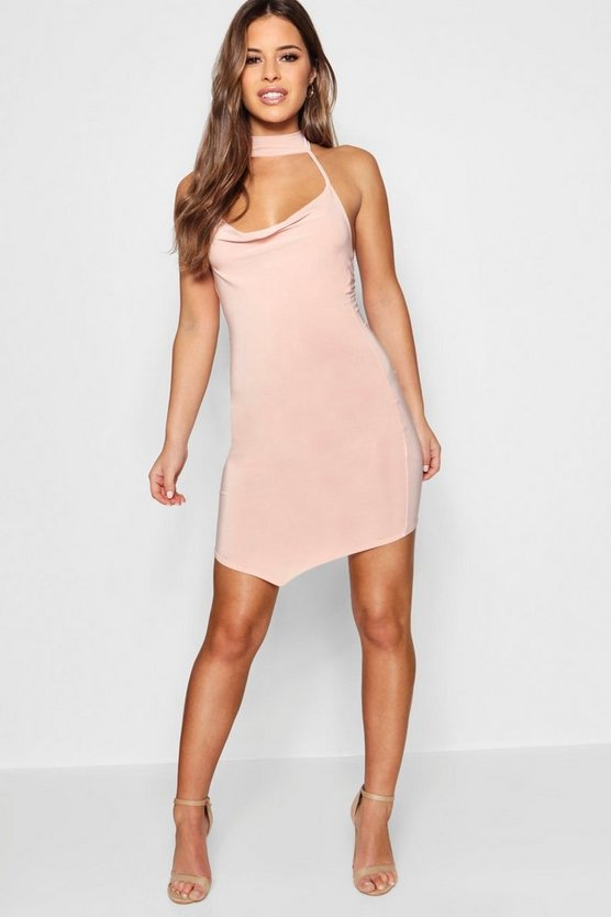 Petite  Cowl Neck Pointed Hem Bodycon Dress