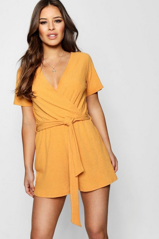 Petite Ribbed Wrap Belted Playsuit