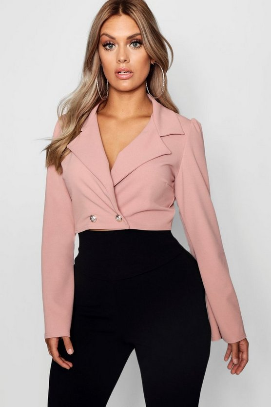 Plus Crop Button Blazer