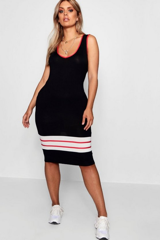 Plus Cindy Sports Trim Midi Dress by Boohoo