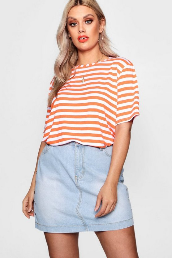 Plus Stripe Basic Jersey Tee