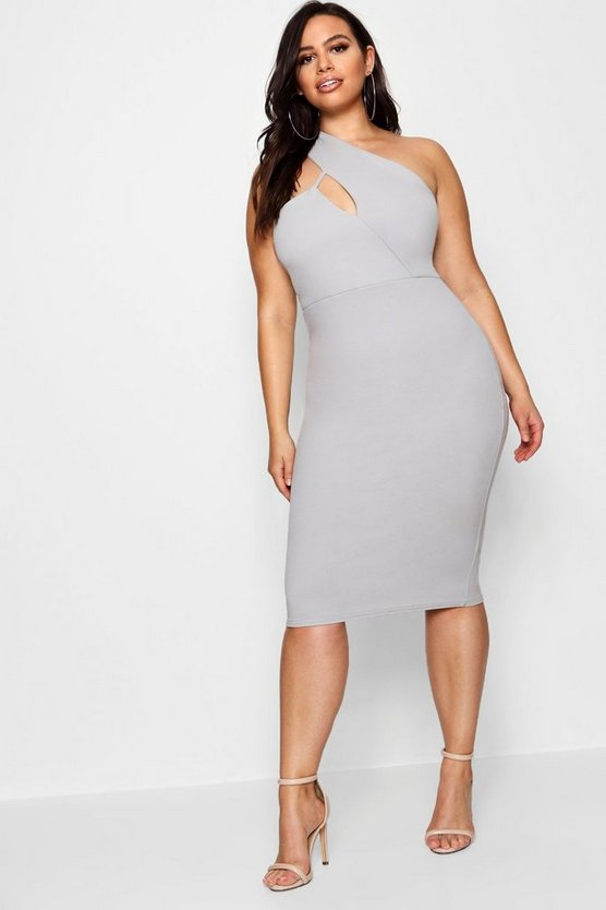 Plus High Neck Cut Out Detail Midi Dress by Boohoo