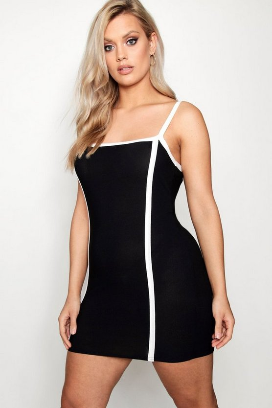 Plus Contrast Detail Bodycon Dress