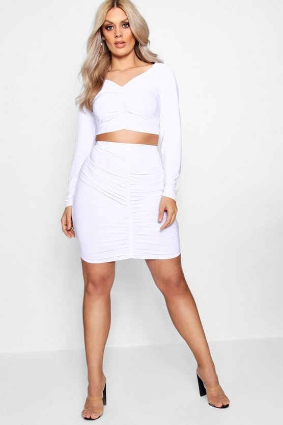 Plus Ruched Crop + Mini Skirt Co-ord