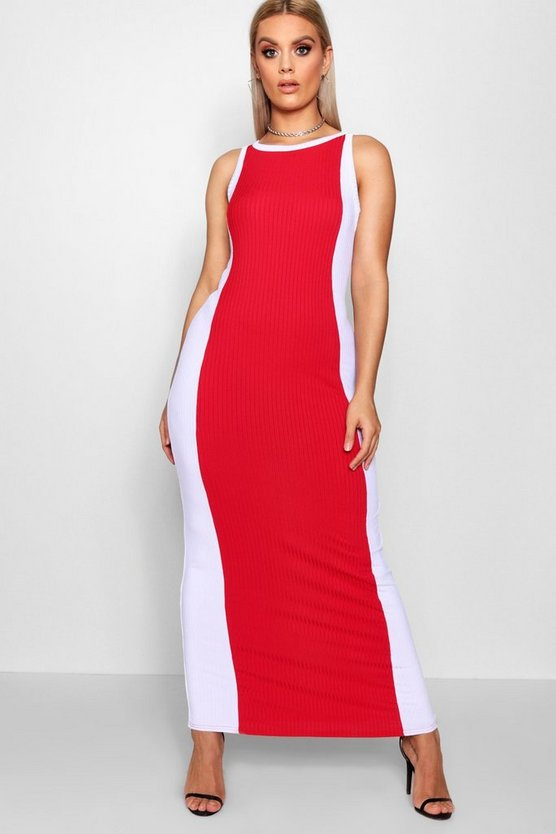 Plus Jessa Colourblock Ribbed Maxi Dress