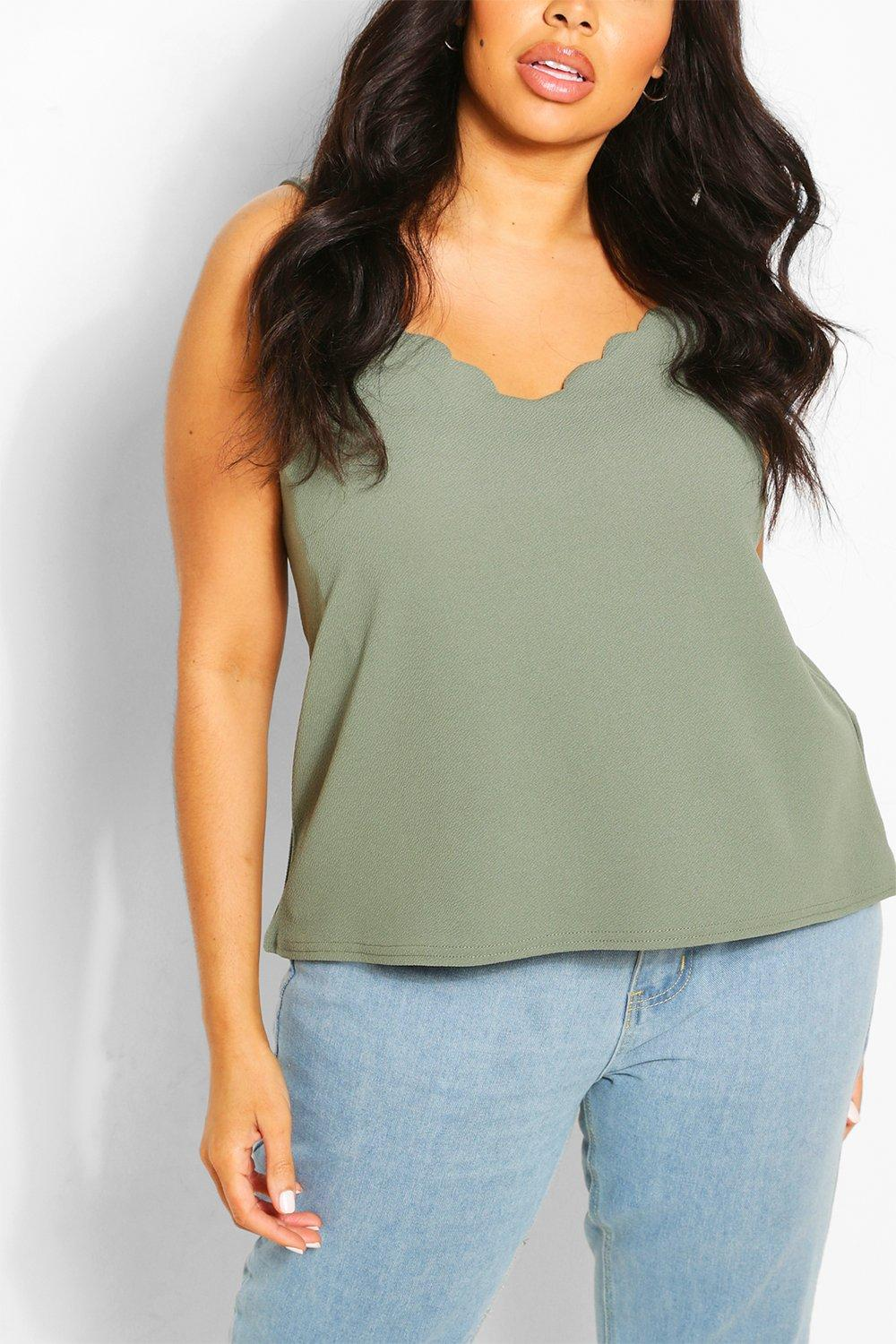 Womens Plus Scalloped Edge Camisole - Green - 22