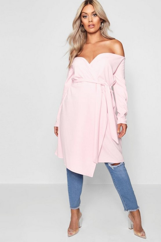 Plus Off Shoulder Belted Duster Jacket