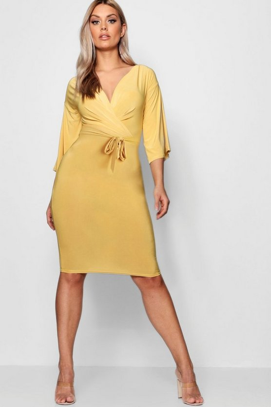 Plus Slinky Belt Front Midi Dress