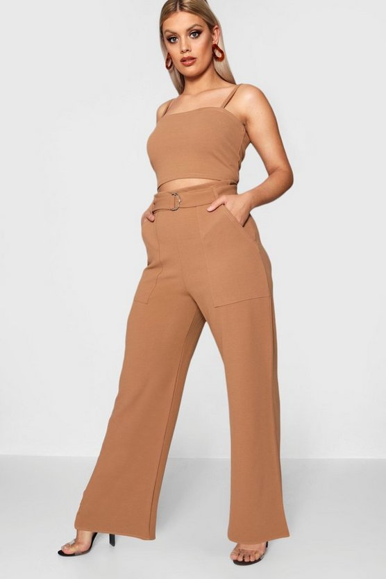 Plus Sia Crepe Crop Top + Tailored Trouser Co-Ord