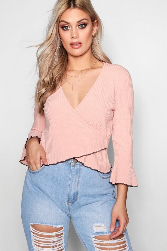 Plus Wrap Front Flare Sleeve Rib Top